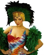 Green Moulin Rouge Cabaret Mardi Gras Showgirl Burlesque Headdress Fancy Dress