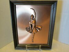 Wall Art Picture 3D Copper Sculpture BALLERINA BALLET DANCER Wood frame Vintage