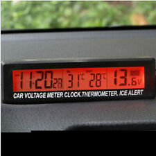 LCD Digital Clock Thermometer Temperature Voltage Meter Battery Monitor for car