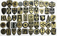 50 US Army Unit Insignia Shoulder & Sleeve Military Patches Hook Back - Lot #653