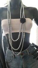 1920's Vintage Style Long Multi Strand Faux Pearl Black Rose Statement Necklace
