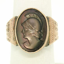 Men's Antique Victorian Carved Trojan Mother of Pearl Cameo in Hand Etched Ring