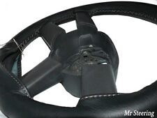 FOR DAF XF 105 2006-2012 REAL BLACK LEATHER STEERING WHEEL COVER GREY STITCHING