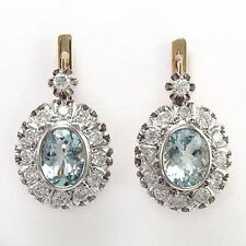 Russian Style1.58ct  Diamond and aquamarine Earrings 14k Rose & white gold 585