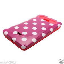 LG Spirit 4G Metro PCS Hybrid Hard Case Skin Pastel Cover Hot Pink White Dots
