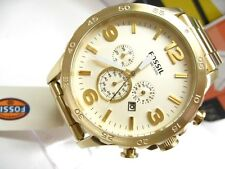 FOSSIL Nate Gold Tone Stainless CHRONOGRAPH Multi-Function Dial Watch! JR1479