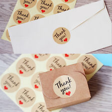 "60X Heart ""Thank You"" Adhesive Kraft Label Seal Envelop Gift Stickers Bag Decor"