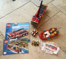 Lego 7213  Off-Road Fire Truck & Fireboat • 100% Complete, Minifigures, Instrs