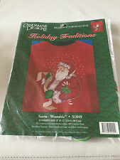 """Candamar Designs holiday Traditions """"SANTA"""" Wearable counted cross stitch 51049"""