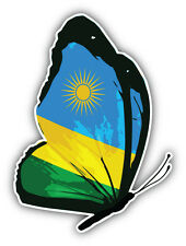 Rwanda Flag Butterfly Car Bumper Sticker Decal 4'' x 5''