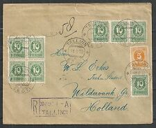 Estonia covers 1919 R-cover Tallinn to Wildervank