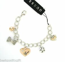 NEW GUESS SILVER+ROSE GOLD TONE HEART+BOW+CRYSTAL BALL CHARM BRACELET