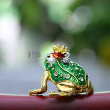 Handmade Crystal Metal Frog Trinket Boxes Figurines Jewelry Collectibles Gifts