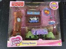 2005 FISHER PRICE Loving Family DELUXE Dining Room H7021 Clock Table - RARE New
