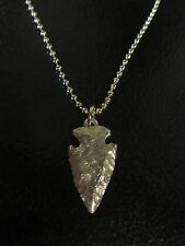 "Little D Designs Pewter Chiseled Stone Arrowhead 30"" Ball & Chain Necklace"
