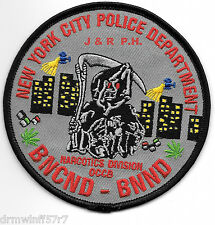 """BNCND-BNND-Narcotics Division, NY(4"""" round size) shoulder police patch (fire)"""