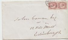 SG 48 1/2d Rose-Red Plate 11 pair Position GN-GO on original envelope Crieff CDS