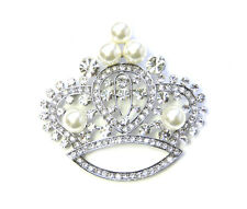Crown Pin Brooch Clear Crystal Pearl Vintage Style Royal Princess Queen