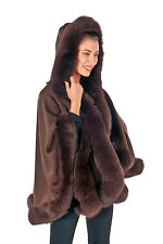 Plus Size Hooded Cashmere Cape with Fox Fur Trim - Short Brown