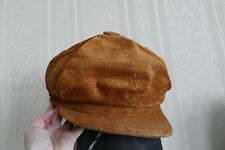 Artisan British Tan Brown Soft Nubuck Leather Cabbie Newsboy Driving Cap Hat NEW