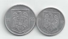 2 COINS from ROMANIA - 1992 5 LEI & 1993 10 LEI