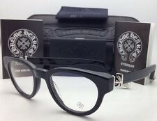 New CHROME HEARTS Eyeglasses KAY GULLS BK 47-20 Black Frame w/ Sterling Silver