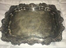 "Large 14"" VTG Silver On Copper Footed Serving Butler Tray Marked Stamped"