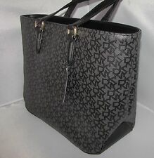 NWT $195 DKNY Black Heritage Coated LOGO & VACHETTA faux leather large tote bag