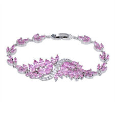 20.5cm Pink Sapphire AAA CZ Bracelet 10Kt White Gold Filled Chain Wedding Bangle