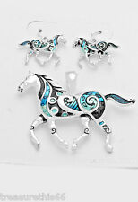 Horse Pendant Necklace Earring Set Enamel Silver Animal Blue Turquoise