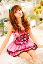 Woman Pink Lace Sexy Cutie Lolita Priness Costume Dress Cosplay Lingerie C57P