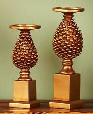 2-PC Gold Pine Cone Candle Holders Woodland Harvest Lodge Metallic Pillar Holder