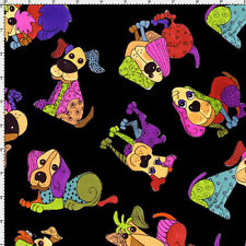 Loralie Designs Tossed Happy Dogs Black Cotton Quilting Fabric BTY