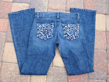 "USA Made""bebe""Premium Boot Cut Low Rise Embroidary/Rhinestones Logo Jeans sz 27"