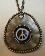 Handsome Bead Rimmed Brasstone Triangle Enameled Peace Sign Necklace