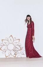 NWT Adrianna Papell Long Sleeve V-neck Beaded Evening Gown Cranberry Sz 4