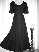 BLACK GOTH HIPPY BOHO JORDASH MAXI COTTON DRESS F/Sz M