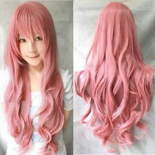 Women Fashion Lady Anime Long Curly Wavy Hair Party Cosplay Pink Full Wig 80cm