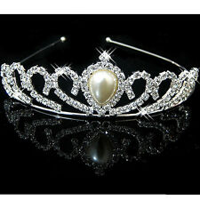 Drop Pearl Bridal Comb Tiara Crystal Rhinestone Crown Pageant Prom Hair Headband