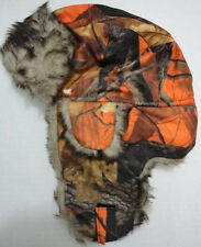 Orange Camouflage Bomber Hat Hunter Orange Camo Trapper Hat w/ Faux Fur