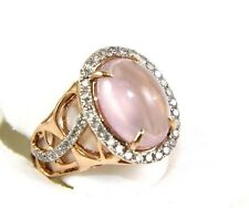 Oval Cabochon Pink Rose Quartz Fashion Ring w/Diamond Halo 14k Rose Gold 6.00Ct