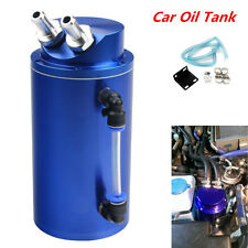 Universal Cylinder Car Oil Catch Reservoir Tank Can Breather Kit Aluminum Blue
