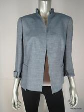 NWT $3000 AKRIS 12 L Wool Linen Blue Colomba Jacket Blazer Career Work Large NEW