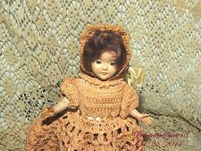 VINTAGE 1950's PINK HAND CROCHET DRESS BONNET SLEEPY EYES MOHAIRE HAIR DOLL