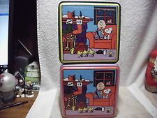 PEANUTS CHARLIE BROWN CHRISTMAS TINS LE COLLECTORS SERIES LOT 0F 2
