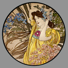 Mucha, June, glass painting, kilnfired, handpainted, stained glass, suncatcher