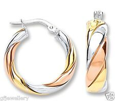 9CT ROSE & YELLOW GOLD, AND RHODIUM PLATED SOLID SILVER TWIST HOOP EARRINGS
