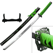 "NEW 40"" Green & Black Japanese Katana Sword w/ Display Stand Green Sakura"