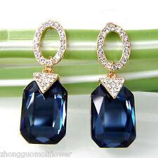 Navachi Square Blue Zircon 18K GP Crystal Ear-nail Earrings BH1771