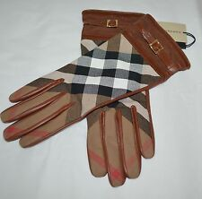 NWT BURBERRY LEATHER CHECK BRIDLE NICOLA CUFF GLOVES SZ 7.5